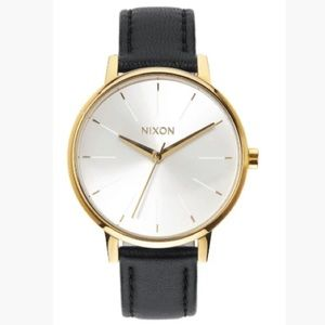 Nixon Kensington Leather Watch- Gold/White/Black